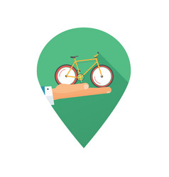rent a bike or rental bicycle icon place pin vector image