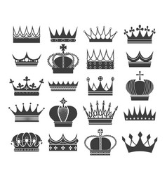 retro crown silhouettes vector image