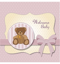 Romantic bagirl announcement card with teddy vector