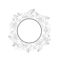 rose and iris flower banner wreath outline vector image