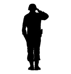 Saluting army soldiers silhouette isolated vector