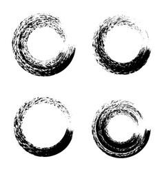 set black ink round brush stroke on white vector image