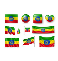 set ethiopia flags banners banners symbols vector image
