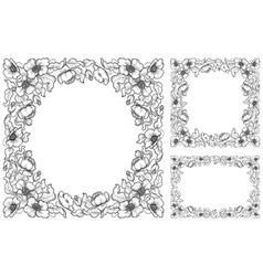set floral borders vector image