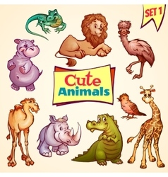 set of cute animals Lion rhino giraffe vector image
