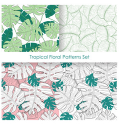 set of seamless patterns with vector image
