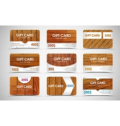 set of wooden gift cards vector image