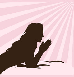 silhouette of a praying girl vector image