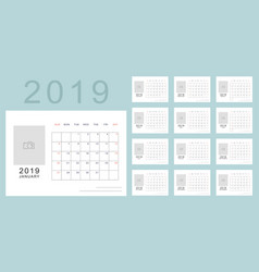 Simple minimalistic calendar of new 2019 year vector