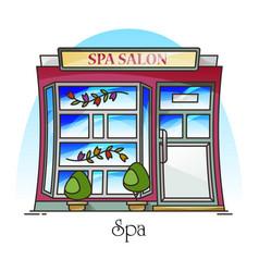 Spa salon or woman beauty building parlor vector