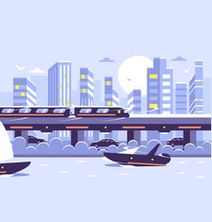 subway train monorail over sunset cityscape vector image