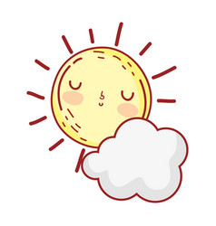 Sun cloud weather summer cartoon isolated icon vector