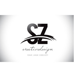 Sz s z letter logo design with swoosh and black vector