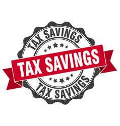 Tax savings stamp sign seal vector