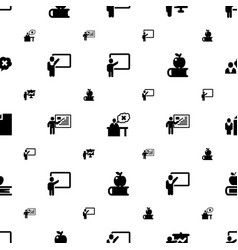Teacher icons pattern seamless white background vector