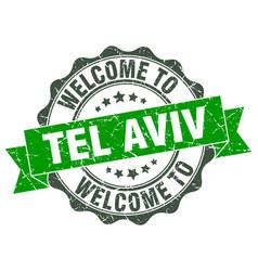 tel aviv round ribbon seal vector image