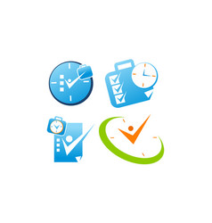 time management template set vector image