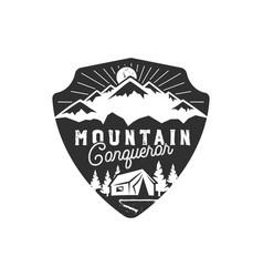 Traveling outdoor badge mountain conqueror vector