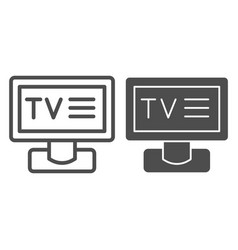 tv line and glyph icon television vector image