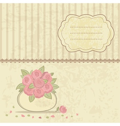 Vintage background with basket of roses vector image