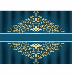 Vintage greeting card with golden floral pattern vector