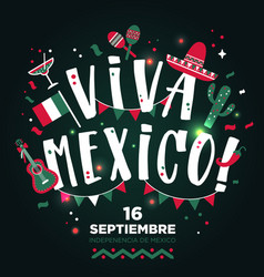 viva mexico hand drawn type design banner layout vector image