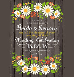 Wedding invitation card with beuty floral vector