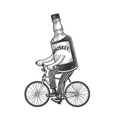 Whiskey rides bicycle sketch engraving vector