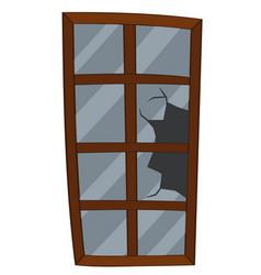 window with broken glass vector image