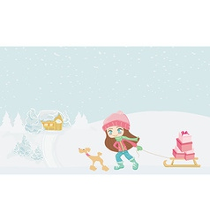 winter little girl with gift box and her dog vector image