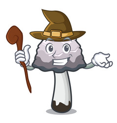 Witch shaggy mane mushroom mascot cartoon vector