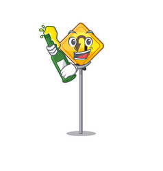 With beer u turn sign isolated character vector