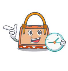 with clock hand bag character cartoon vector image