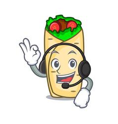 with headphone burrito mascot cartoon style vector image