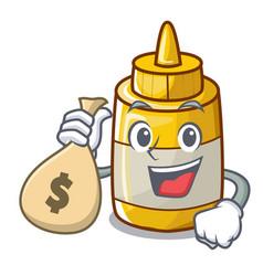 With money bag mustard bottle container cartoon vector