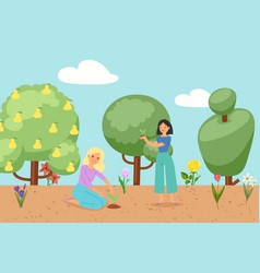 woman plants flowers in spring garden with vector image