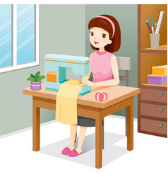 Woman sewing clothes by sewing machine vector