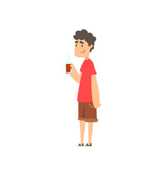 Young man with bottle of alcohol drink in his hand vector