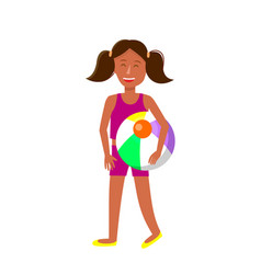 Young tanned girl with pigtails cartoon character vector