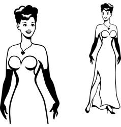 Beautiful retro girl in pop art style vector image vector image