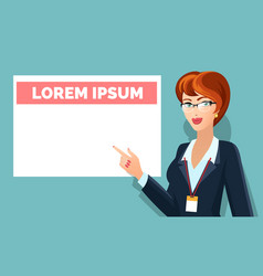 Business woman pointing on message board vector