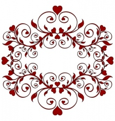 red floral ornament with hearts vector image