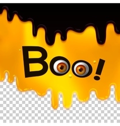 BOO text with monster eyes on liquid art vector image