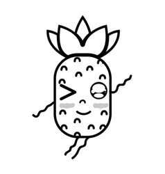 line kawaii cute funny pineapple fruit vector image vector image