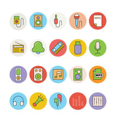 Music colored icons 3 vector