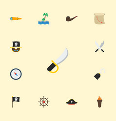 flat icons ship steering wheel pirate hat vector image