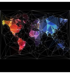 Night World Map with largest cities in the world vector image vector image