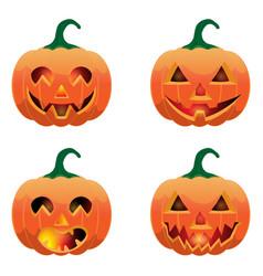 set of pumpkins for halloween vector image
