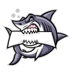 shark bite a blank sign vector image