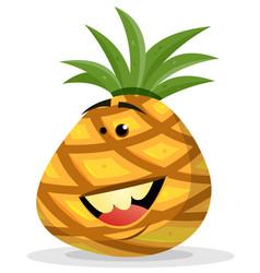 cartoon happy pineapple character vector image vector image